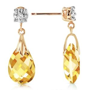 GOLD STUD EARRINGS WITH DIAMONDS & CITRINES